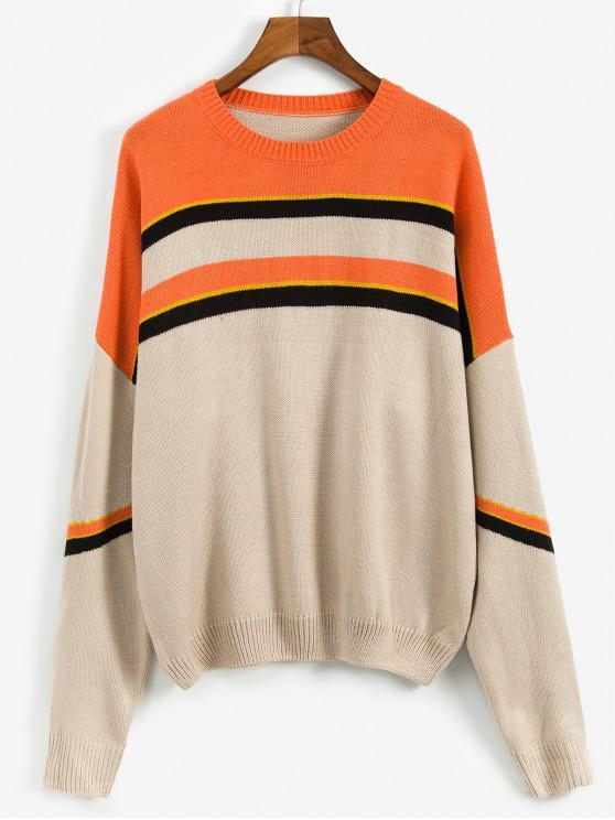 fashion Casual Color Spliced Round Neck Sweater - ORANGE L