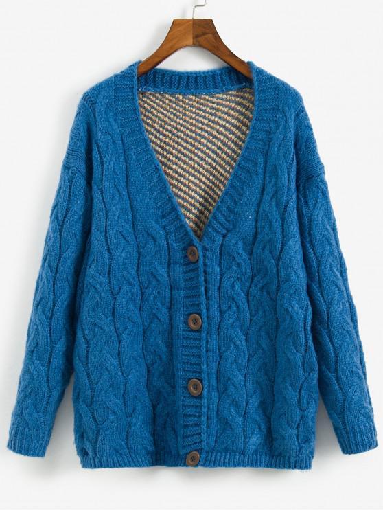 shops Solid Color Button Design Cable Knit Cardigan - BLUE L