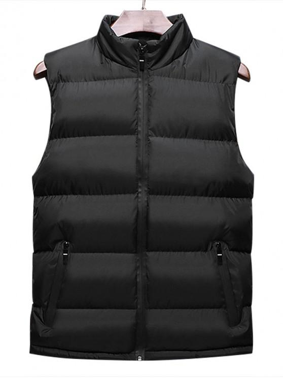 trendy Casual Solid Color Zip Up Padded Waistcoat - BLACK L