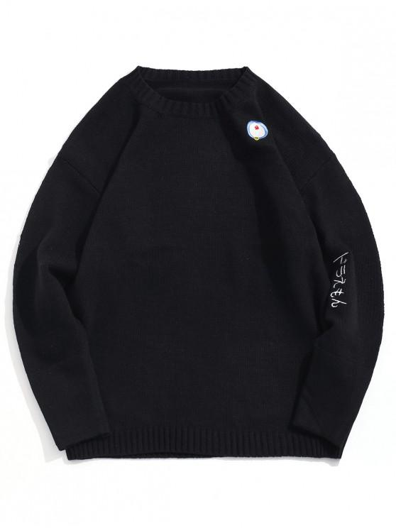 sale Japanese Embroidered Pullover Knitted Sweater - BLACK XL