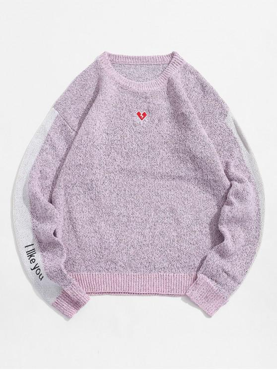 fashion Letter Embroidered Color Spliced Casual Sweater - PINK XS