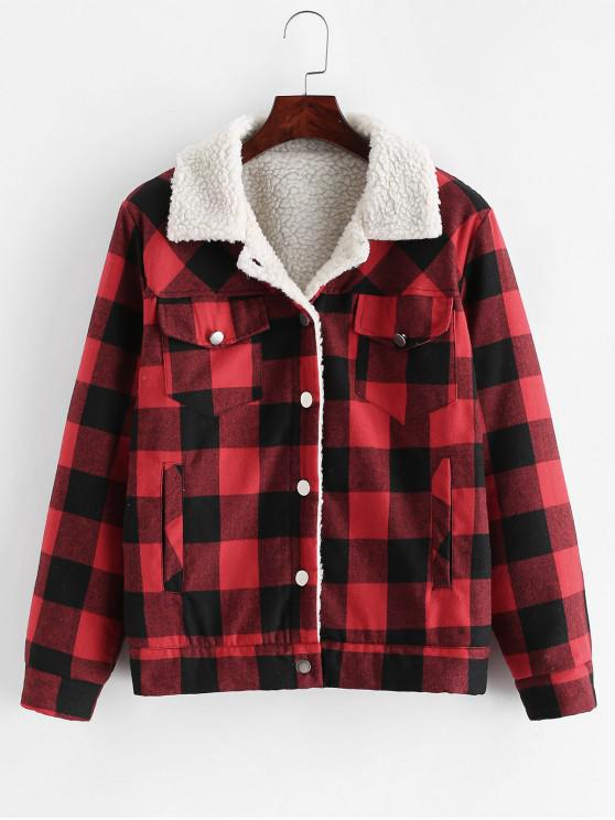 women Button Up Plaid Pockets Shearling Jacket - RED M