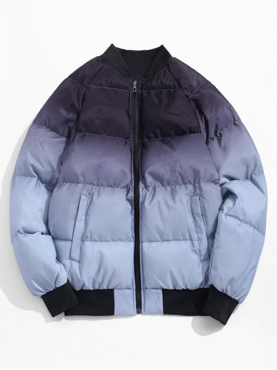 buy Color Blocking Zip Up Quilted Jacket - GRAY XL