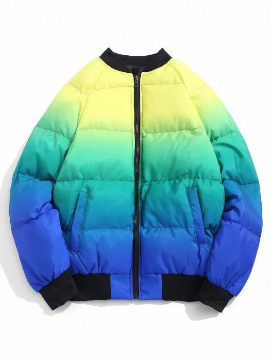ladies Color Blocking Zip Up Quilted Jacket - BLUE XL