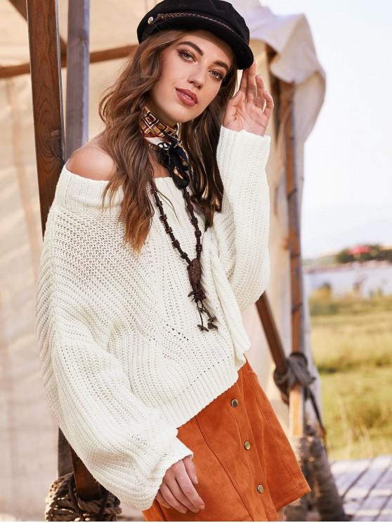 shop ZAFUL Drop Shoulder Chunky Sweater - WHITE M