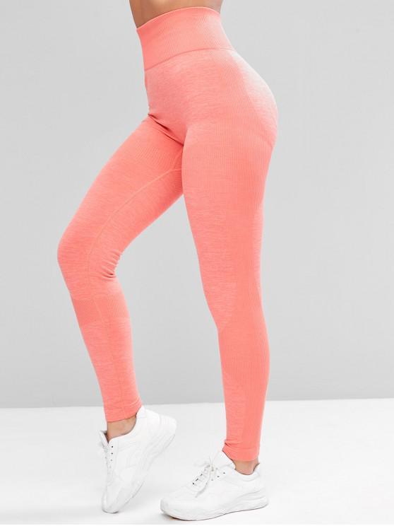 Heather Rib Knit Waisted Skinny de înaltă Colanti - Roz XL