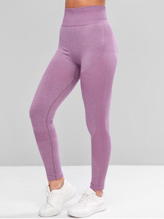 lady Heather Rib Knit High Waisted Skinny Leggings - PURPLE XL