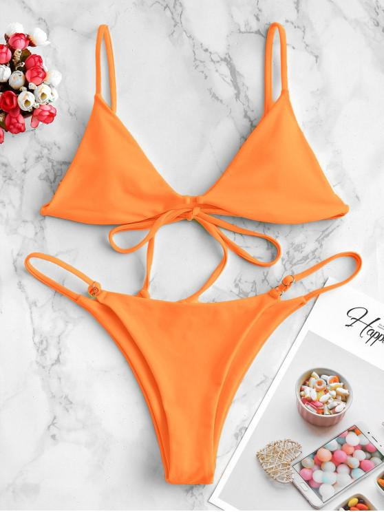 women ZAFUL Padded Plain String Bikini Swimsuit - DARK ORANGE L
