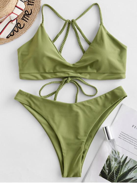 affordable ZAFUL Braided Strappy Bikini Swimsuit - GREEN SNAKE L
