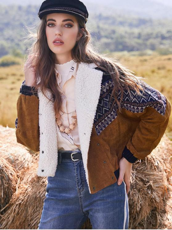 lady ZAFUL Double Breasted Tribal Print Faux Shearling Panel Corduroy Jacket - MULTI XL