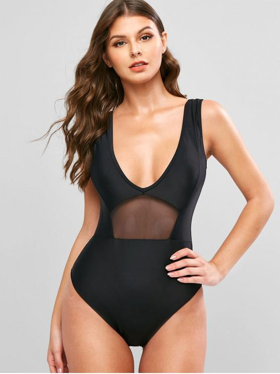chic ZAFUL Mesh Insert Plunging Backless One-piece Swimsuit - BLACK L