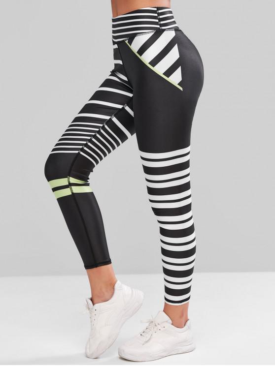ladies High Waisted Striped Skinny Gym Leggings - BLACK L