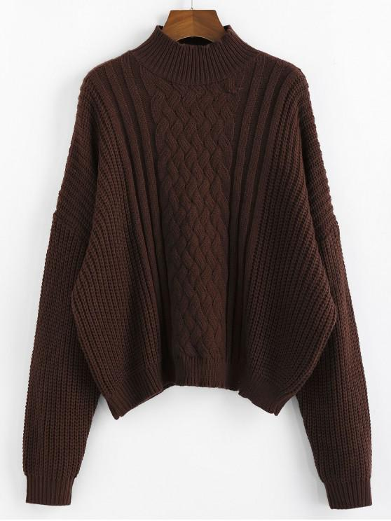 new ZAFUL Mock Neck Cable Knit Sweater - MOCHA L