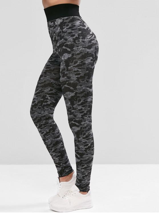 ladies Camouflage High Waist Sports Leggings - BLACK L