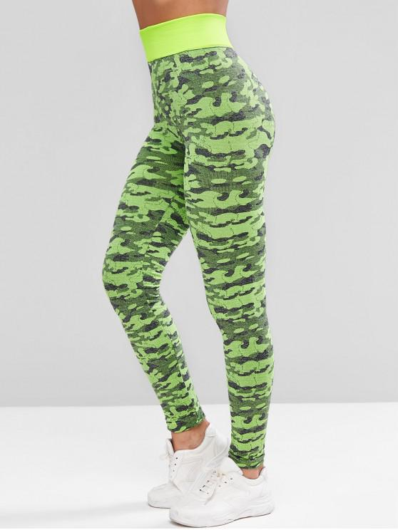sale Camouflage High Waist Sports Leggings - BRIGHT YELLOW L
