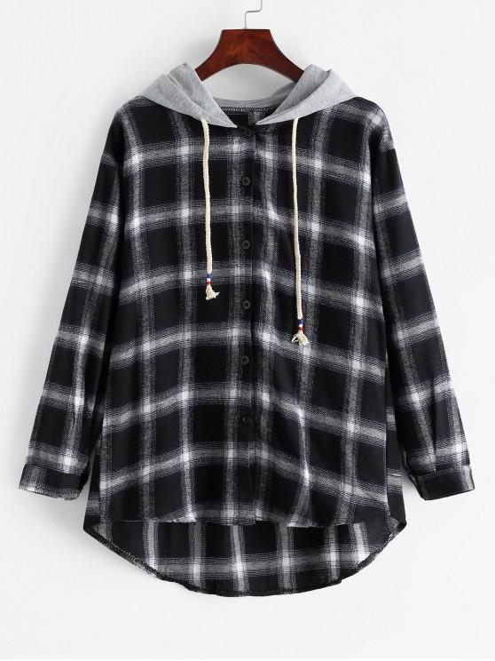 latest Plaid Hooded Drawstring High Low Shirt - BLACK L
