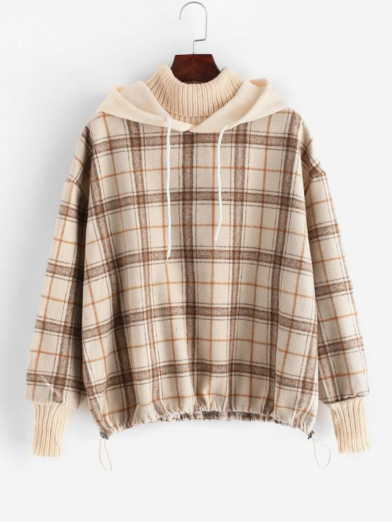 trendy Plaid Drop Shoulder Loose Mixed Media Hoodie - WARM WHITE ONE SIZE