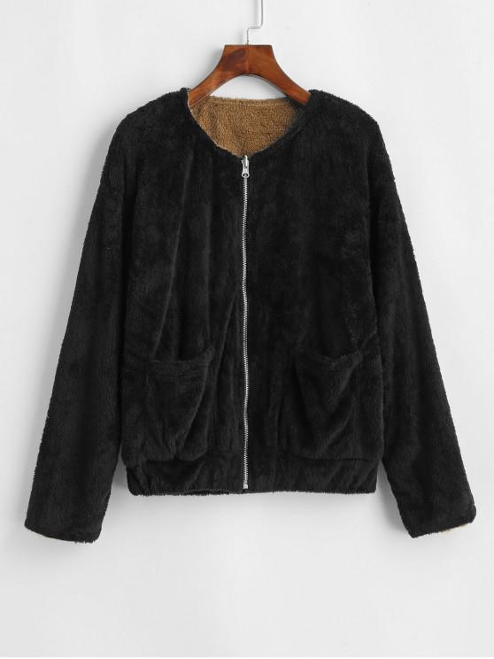 sale Reversible Fluffy Drop Shoulder Pocket Coat - BLACK L