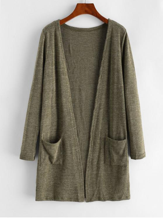 unique Dual Pockets Heathered Open Cardigan - BROWN ONE SIZE