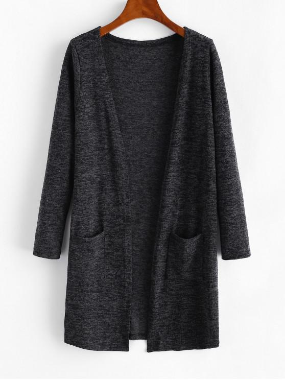 womens Dual Pockets Heathered Open Cardigan - DARK GRAY ONE SIZE