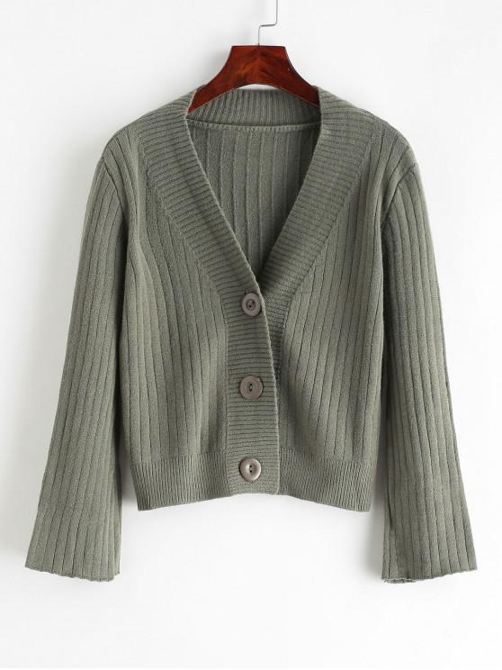 ladies Solid Button Up V Neck Cardigan - ARMY GREEN ONE SIZE