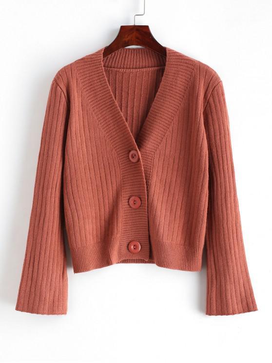 lady Solid Button Up V Neck Cardigan - CHESTNUT ONE SIZE
