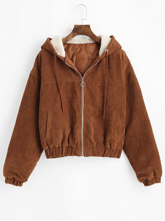lady Drawstring Zip Front Hooded Corduroy Jacket - BROWN M