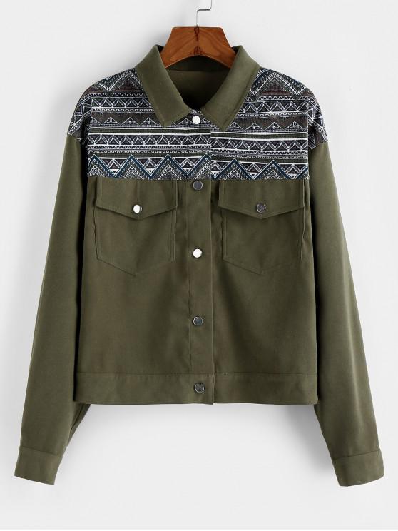 women ZAFUL Aztec Print Drop Shoulder Pocket Jacket - CAMOUFLAGE GREEN XL