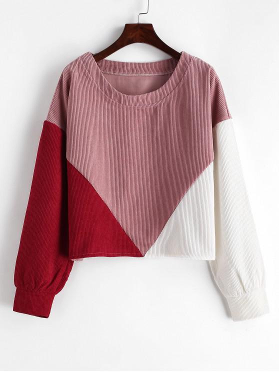 ZAFUL Sweat-shirt en Blocs de Couleurs à Goutte Epaule en Velours Côtelé - Multi-A S