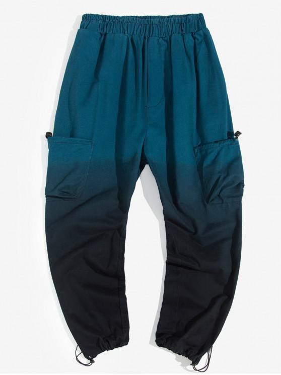 best Ombre Printed Pocket Decoration Jogger Pants - NAVY BLUE XS