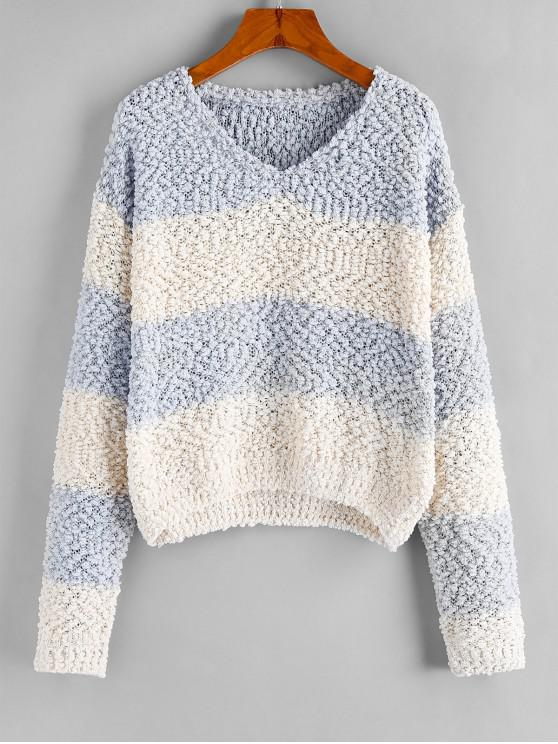 shops ZAFUL Popcorn Knit Colorblock Drop Shoulder V Neck Sweater - MULTI-B L