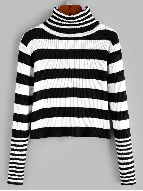 womens ZAFUL Turtleneck Striped Ribbed Jumper Sweater - MULTI-B S