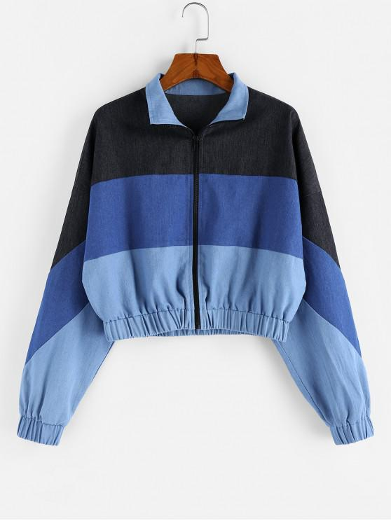 chic ZAFUL Colorblock Cropped Jacket - MULTI-A S