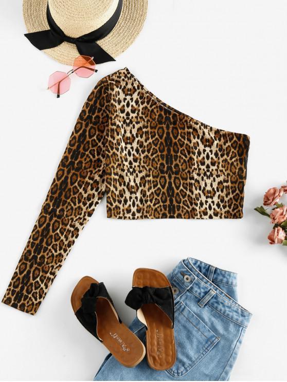 hot ZAFUL One Shoulder Snakeskin Leopard Long Sleeve Crop Tee - MULTI-E L