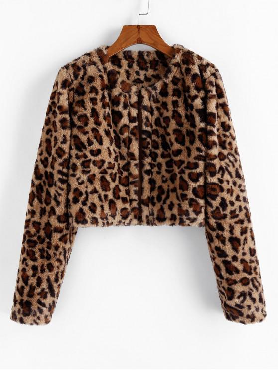 best ZAFUL Leopard Faux Fur Zip Up Coat - LEOPARD S