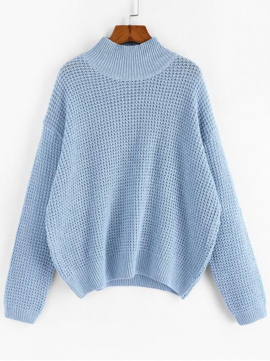 chic ZAFUL Drop Shoulder Plain Mock Neck Sweater - CORAL BLUE L