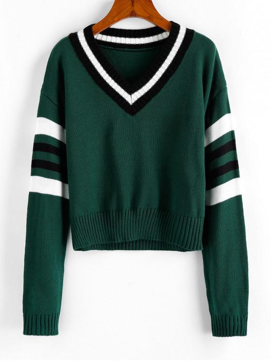 women ZAFUL Contrast Stripe V Neck Sweater - GREENISH BLUE M