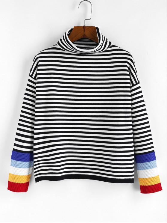 womens ZAFUL Striped Turtleneck Drop Shoulder Sweater - MULTI-C S