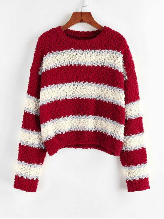 womens ZAFUL Colorblock Drop Shoulder Popcorn Knit Sweater - MULTI-C L