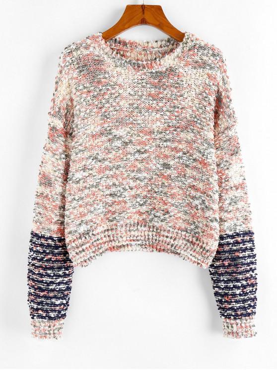 affordable ZAFUL Drop Shoulder Mixed Yarn Boucle Sweater - MULTI-J L