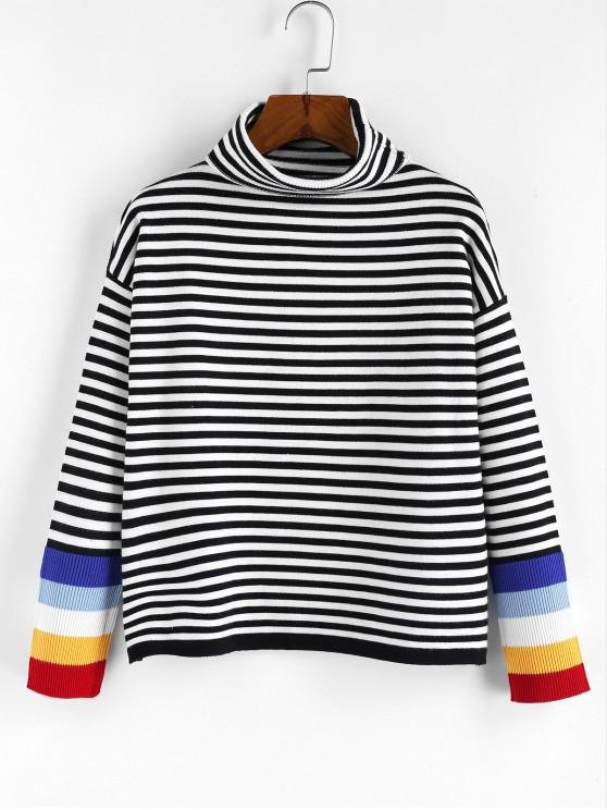shop ZAFUL Striped Turtleneck Drop Shoulder Sweater - MULTI-C L