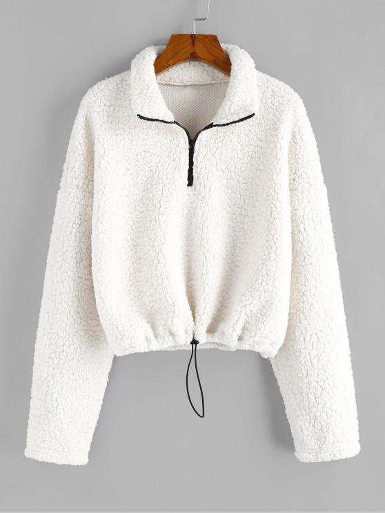ZAFUL Jumătate Zip Teddy Sweatshirt - alb L