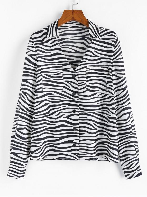 shop ZAFUL Zebra Print V Notched Pocket Shirt - MULTI-A S