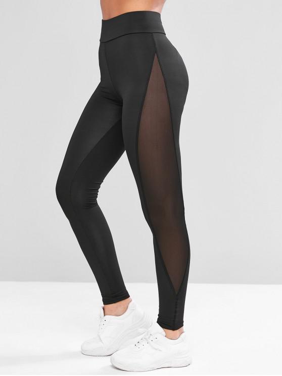 lady Mesh Panel See Thru Stretchy Gym Leggings - BLACK L