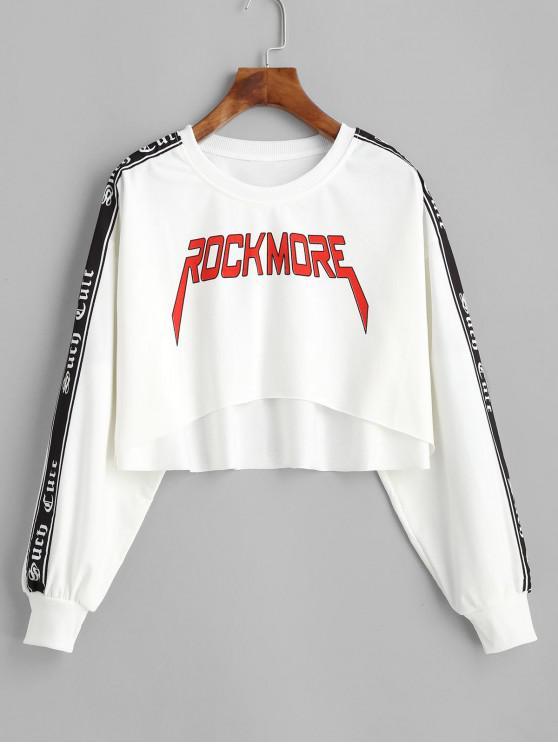 hot Cropped ROCK MORE Graphic Raw Hem Sweatshirt - WHITE M