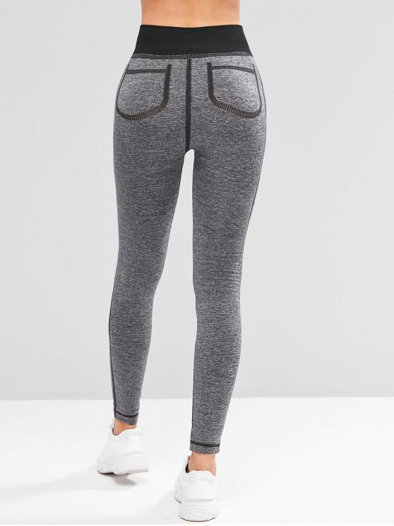 chic Contrast Heathered Sports Leggings - BLACK M