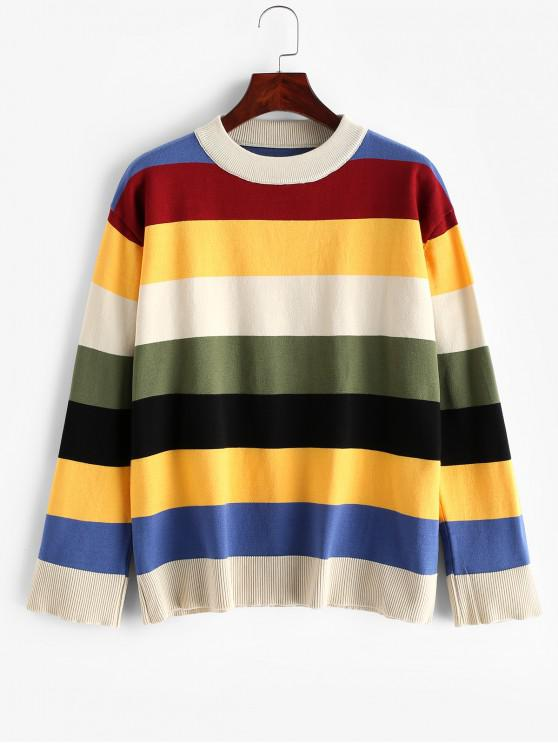 Colorblock Stripes Crew Neck Pulover Pulover - Multi-A O marime