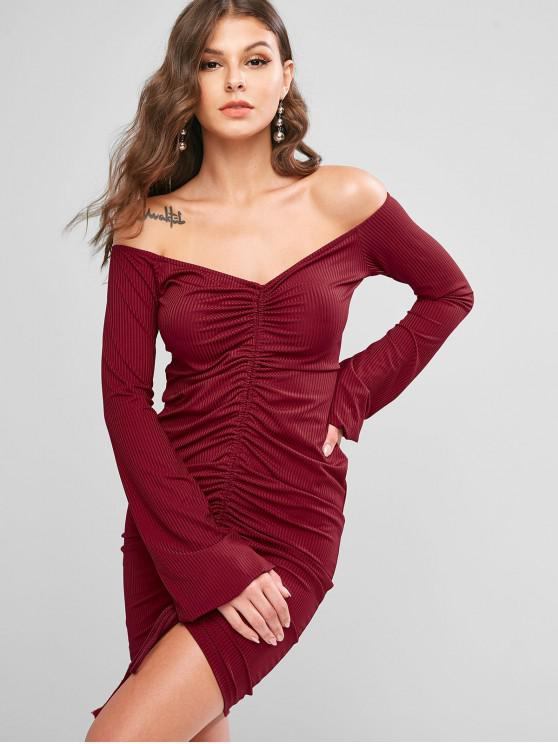 outfits Ribbed Cinched Off Shoulder Lantern Sleeve Bodycon Dress - RED WINE M