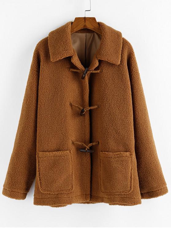 unique ZAFUL Pocket Faux Shearling Drop Shoulder Duffle Teddy Coat - DARK GOLDENROD S