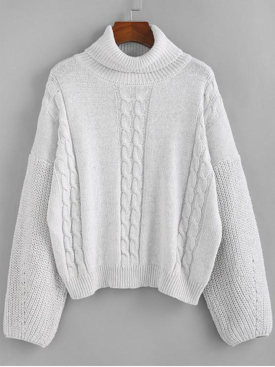 chic ZAFUL Cable Knit Turtleneck Sweater - COOL WHITE M